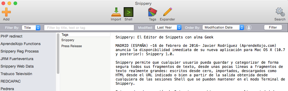 New filtering options and user interface changes in Snippery 1.1