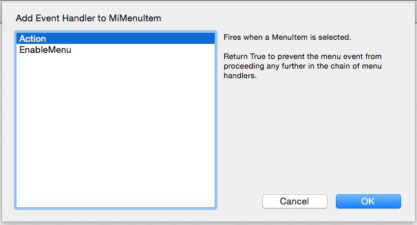 Añadir manejador de evento Action a la subclase MenuItem