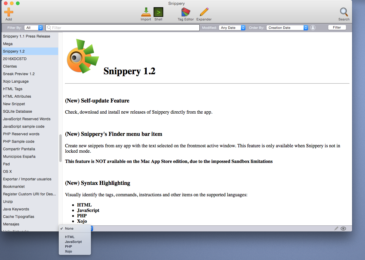 Snippery: The Snippet Editor with Geek Soul - AprendeXojo