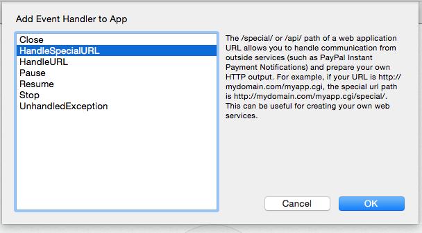 Añadir eventos HandleSpecialEvent a app Web, ideal para crear un Servicio Web
