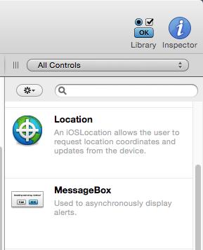 Control iOSLocation en el Panel Librería del IDE de Xojo.