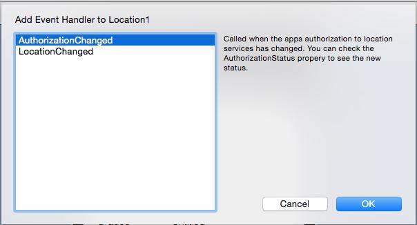 Selección de Manejadores de Eventos para iOSLocation.