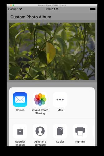 iOSSharingPanel en app iOS de ejemplo